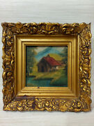 Antiques. Oil Painting Of An Old House And Landscape Rare Wonderful Decor