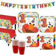 Party City Elmo 1st Birthday Party Kit, Include Plates, Napkins, Table Covers,