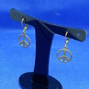 Vintage Gold Tone Peace Ban The Bomb Sign Pierced Earrings Lever Back 90s Quirky