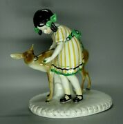Antique Wilhelms Feld German Porcelain Girl With Fawn Animal Figurines 1915 Rare