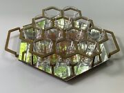 Rare Jack Daniels Tennessee Honey Mirror Honeycomb Serving Tray For 12 Shots