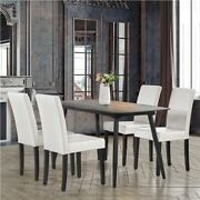 Dining Chairs High Back Pu Leather Chair With Wood Legs, 4pcs