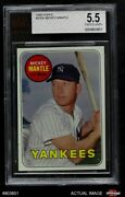 1969 Topps 500 Mickey Mantle Yellow Name Yankees Bvg 5.5 - Ex+