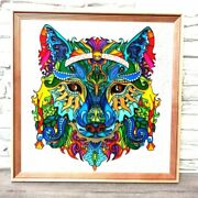 Stained Glass Original Painting Abstract Rainbow Animal Shamanic Wolf Wall Art