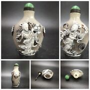Collection Chinese Beijing Carved Glass Snuff Bottle Bottles Buddha Statue Woman