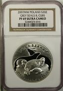 Poland 20 Zlotych 2007 Mw Ngc Pf 69 Ultra Cameo Unc Silver Grey Seals And Cubs