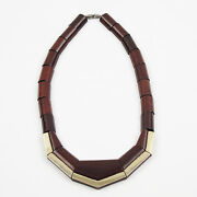 French Art Deco Handmade Wooden Geometric Choker Necklace Silvered Accent