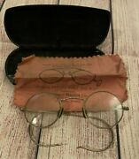 Antique Eyeglasses W/ Case And Cleaning Cloth - Zollinger Harned Co Optical Dept.