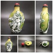 Collection Chinese Beijing Carved Glass Snuff Bottle Bottles Statue Buddha Men