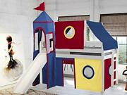 Castle Lowloft Bed With Slide Red And Blue Tent And Tower Loft Bed Twin White