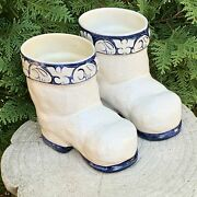 Two Authentic Dedham Pottery Reproduction Santa Boots By The Potting Shed.