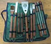 Deluxe Set Of Barbecue Grilling Utensils W / Wood Handles And Green Bag