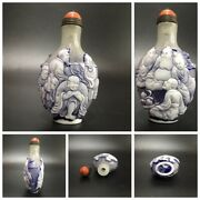 A Fine Carved Buddha Painted Glass Snuff Bottle Bottles Snuffbox Carving Statue