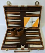 Vintage Backgammon Game In Leather Case W/ Speckled Brown Bakelite Checkers