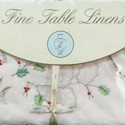 Lenox China Holiday Tablecloth 60 X 84 8 Napkins Holly Xmas Cut Out Embroidered