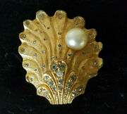 Benedikt Ny Exquisite Rare Oyster Shell Brooch Crystals And Faux Pearl Signed