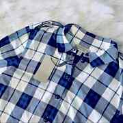 Brand New Nwt Blue And White Plaid Button Up Blouse Retails 667