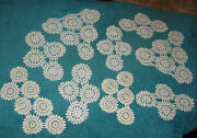 Vintage 9 Piece Set Crocheted Doilies White New 71