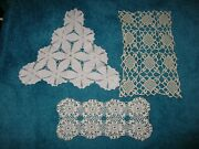 Lot Of 3 Vintage Hand Crocheted Doilies Beautiful Dainty All New