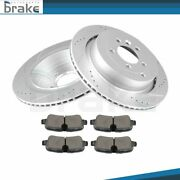 For 10-12 Land Rover Range Rover Sport Hse Rear Brake Rotors Ceramic Pads Drill