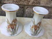 Fine China Pair Milk White Floral Pattern Candlestick Holders -gold Trim Japan