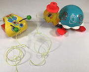 Vintage 1962 Fisher Price Pull Toys Turtle And Snail Wood And Plastic Good Cond.