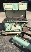 Antique Home Jadeite And Cream Cast Iron Wood/gas Cook Stove Cribben And Sexton Co.