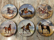 Lot Of 6 War Ponies Of The Plains Collector Plates Indian Horses Pony Perillo