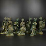 A Set Of 7 Bronze Inlay Silver Gold Ancient Chinese Play A Musical Women Girl