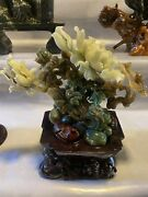 10and039and039 Natural Color Dushan Jade Handcarved Beautiful Magnolia Flower Bird Statue