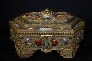 13and039and039 Tibetan Silver Gold Inlay Gem Turquoise Dzi Buddhist Jewel Case Boxes