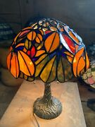 """Type Stained Glass Handmade Bedside Lamp Ac100v Chestnut"""" From Japan"""