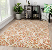 Orange White Floral Woolen Carpets For Bedrooms And Living Rooms 5x7ft