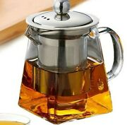 Heat Resistant Glass Teapot Tea Kettle Water Jug Heater Pitcher With Strainer