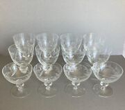 Beautiful Elegant Antique Etched Crystal Goblets And Champagne/sherbet Glasses