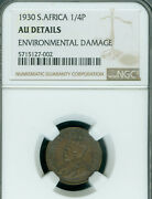 1930 South Africa Farthing Ngc Au-55 Details Very Rare Only 6500 Minted