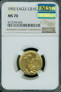 1992 Gold Eagle 10 1/4 Oz Ngc Ms70 Mac Finest Registry And Mac Spotless