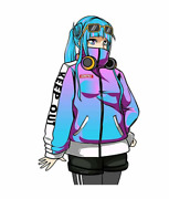 2 Pcs Vinyl Stickers Set For Car And Other Surfaces Cute Anime Girl Headphones