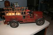 Antique Vintage Fire Truck Huge Wood And Metal With Fireman And Ladders