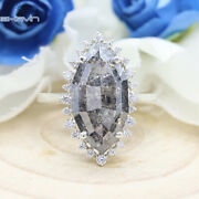 14k And 18k Gold Grey Salt And Pepper Color Geometric Marquise Shape Diamond Ring