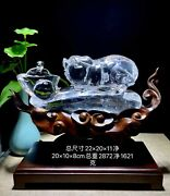 8and039and039 Natural White Rock Crystal Quartz Home Feng Shui Wealth Fortune Pig Statue
