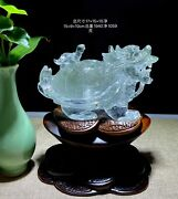 6.5and039and039 Natural White Rock Crystal Quartz Home Feng Shui Wealth Dragon Turtle