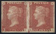1856 1d Red Plate 25 Kc-kd Nealeand039s Steam Press 4m Pair Spec.c8h Cat. Andpound6000.00 +