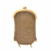 Vintage French Chatelaine Small Mesh Purse 18k Yellow Gold