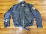 Vintage Mens Xl Harley Davidson Black Leather Motorcycle Riding Jacket Patches