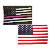 3x5 Thin Pink Line Breast Cancer Usa And Usa America Banner Poly Flag Set Of 2
