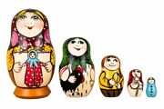 Matryoshka Russian Traditional 5pcs| Hand Painted |girl With A Doll|nesting Doll