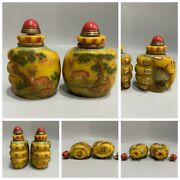 A Pair Chinese Beijing Glass Snuff Bottle Carved Bottles Antique Carving Qing