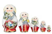 Matryoshka Russian Traditional 5pcs | Hand Painted | Girl With A Rabbit Curly
