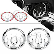 Chrome Flame Abs Speaker Grill Accent Trim Cover For Harley Electra Glide Trikes